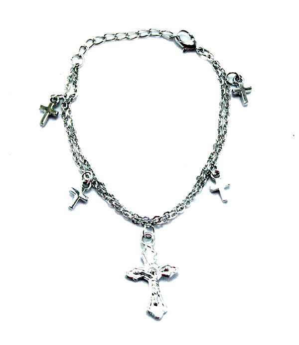 Silver Chain Cross Bracelet Anklet